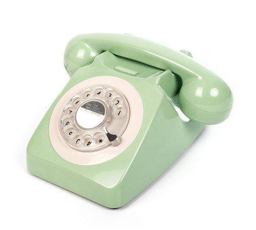 GPO 746 Teléfono Fijo de Disco con Estilo Retro de los años 70 - Cable en Espiral, Timbre auténtico - Verde Menta