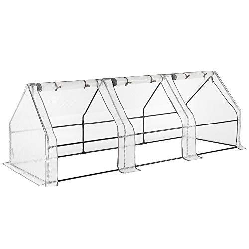 CHRISTOW Large Grow Tunnel Greenhouse, Garden Polytunnel, Outdoor Fruit Vegetable Cloche, UV-Resistant Reinforced PE Cover, Ground Pegs, 180cm, 270cm, 360cm Long