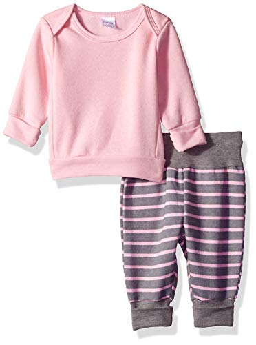Hanes Ultimate Baby Flexy Adjustable Fit Jogger with Sweatshirt Set, Light Pink Stripe, 18-24 Months