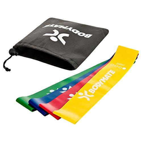 BODYMATE Fitnessbänder Set mit 4 Stärken und Transporttasche – 60cm Umfang x 5cm breit – Gymnastikband, Fitnessband, Band Loops aus Naturlatex – Widerstandsbänder Funktionelles Training