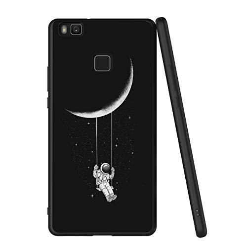 Yoedge Cover Huawei P9 Lite, Sottile Antiurto Custodia Nero Silicone TPU con Disegni Pattern Ultra Slim 360 Protective Bumper Case per Apple Huawei P9 Lite, Astronauta