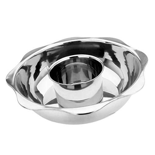 Olla caliente de acero inoxidable espesa, olla de inducción dividida doble, plateada, 30 cm