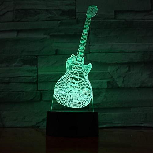 Guitar Shape 3D Phantom Night Light LED Guitar Playing Instrument Night Light Bedroom Decoration Gift 3D Lights for Children