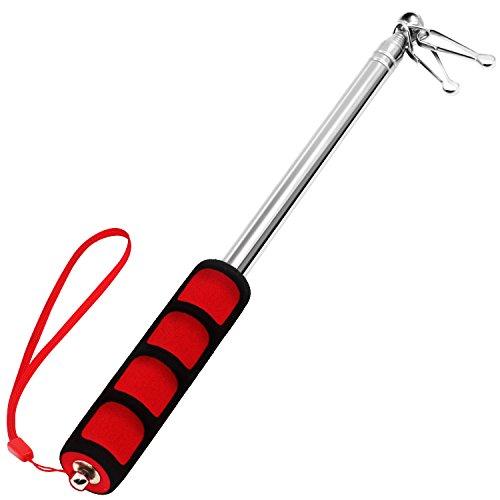 Anley Tragbarer Stab mit Clips - 5-Fuß-Teleskop-Handfahnenmasten, Leichtgewichtiger ausziehbarer Edelstahl mit rutschfestem Griff - Zusammenklappbarer Fahnenmast für Reiseleiter & Zeiger