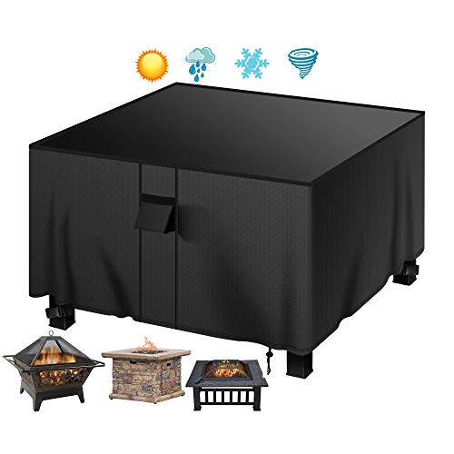 MENSBY Gas Fire Pit Cover Square 40x40x24 inch Fire Pit Table Protective Cover for Outdoor Patio Garden Waterproof and Anti-Fade