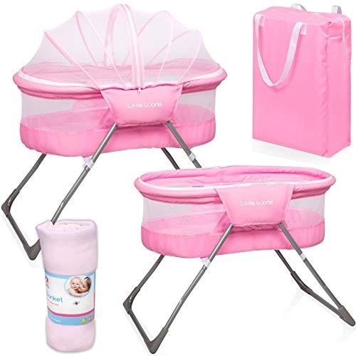 Baby Reisebett Beistellbett Babybett rosa Mädchen Bassinet Snoozer mit Moskitohaube, Matratze, Tasche, Babydecke