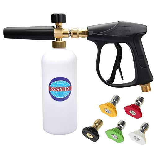 SZSXHX S205 Foam Cannon Gun 3000 PSI High Pressure Washer Foam Wash Gun Car Washer Gun with 5 nozzles for car Cleaning