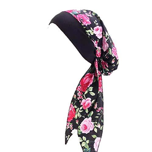 Pluto & Fox Turbante Gorra Pañuelo para Cabeza De Tela De Mujer para Cáncer Quimioterapia Chemo Oncológico Noche Pèrdida de Pelo Cabello (Diseño 7, 1)