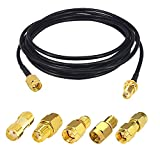5m/16ft RF Coaxial SMA Male to SMA Female Bulkhead RG174 Extension Cable + 5pcs RF Coax SMA/RPSMA Adapter Kit for SDR Equipment Antenna Ham Radio 3G 4G 5G LTE Antenna ADS-B WiFi GPS etc (Not for TV)