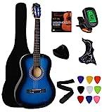 Vizcaya 38' Blue Beginner Left-Handed Acoustic Guitar Starter Package Student Guitar with Gig Bag,Strap, Picks, Extra Strings, Electronic Tuner -Blue Left-Handed