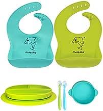 Baby Self-Feeding Bowl Plate Bibs Spoons 6 Pack
