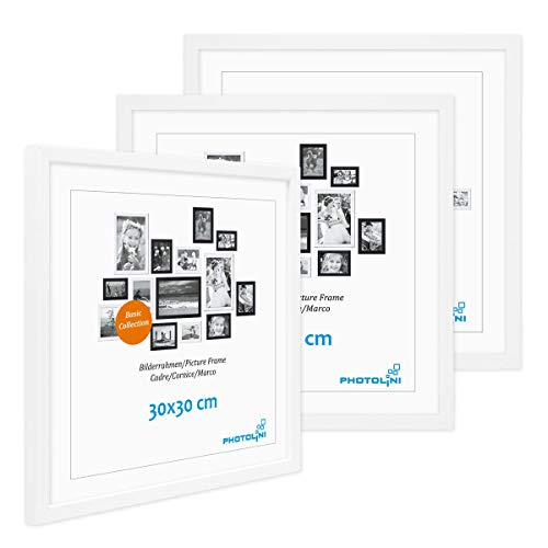 PHOTOLINI 3er Set Poster-Bilderrahmen 30x30 cm Modern Weiss aus MDF mit Acrylglas/Posterrahmen/Wechselrahmen