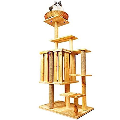 CHENMAO Marco de Escalada de Gato, litera de Gato de Madera Maciza, Plataforma de Salto de 6 Capas, Columna de sisal Natural, Cama de Gato de ratán