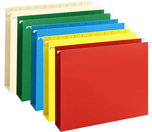 HERKKA Extra Capacity Hanging File Folders, 30 Reinforced Hang Folders, Heavy Duty 2 Inch Expansion, Designed for Bulky Files, Medical Charts, Assorted Colors, Letter Size, 30 Pack