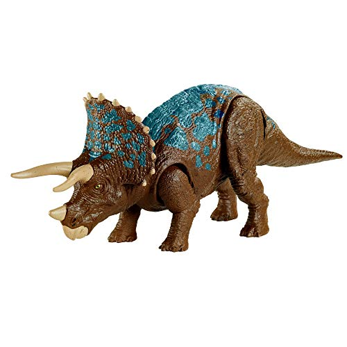 Jurassic World Ruge y Ataca Triceratops Dinosaurio articulado con sonidos Figura de juguete para niños (Mattel GVH66)