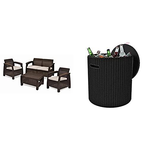 Keter Set Corfu Lounge Conjunto De Jardín, Marrón, 76X170X58 Cm + - Mesa Nevera para Jardín Cool Stool, Capacidad 39 litros, Color Marrón