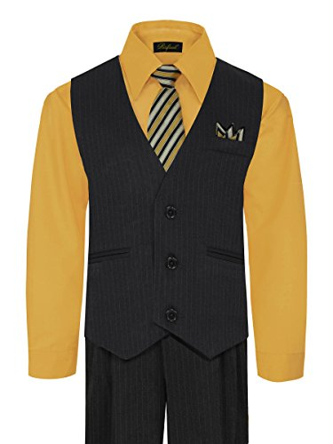 Rafael Boy's Vest and Pant Set, Includes Shirt, Tie and Hanky - Black/New Mustard, 12