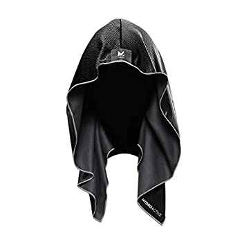 Mission Cooling Hoodie Towel- Hood Towel Evaporative Cool Technology Cools Instantly when Wet UPF 50 Sun Protection Contours Your Head to Stay in Place Great for Sports Fitness Gym- Black