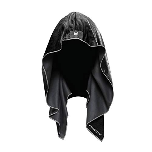 Mission Cooling Hoodie Towel- Hood Towel, Evaporative Cool Technology, Cools Instantly when Wet, UPF 50 Sun Protection, Contours Your Head to Stay in Place, Great for Sports, Fitness, Gym- Black
