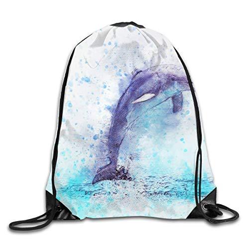 Kordelzug Rucksack Turnbeutel Tunnelzug Gymsack Aquarell Mix Media Dolphin für Picknick Gym Sport Beach Yoga Kordelzugbeutel 36X43CM