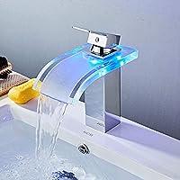 浴室の蛇口と冷たい短い湾曲ガラスの銅の蛇口のセラミックバルブコアの近代的な滝LEDインテリジェントな温度制御照明バスルームの洗面器の蛇口