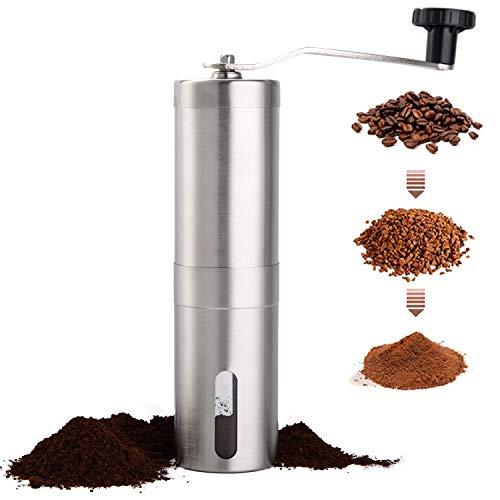 PARACITY Manual Coffee Bean Grinder Stainless Steel Hand Coffee Mill Ceramic Burr for Aeropress, Drip Coffee, Espresso, French Press, Turkish Brew