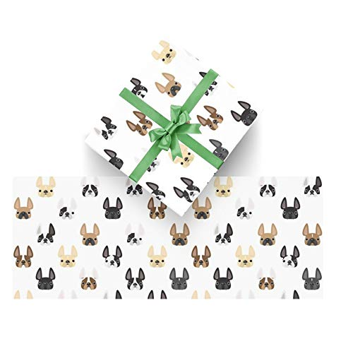 Frenchie Friends Wrapping Paper 3 Sheets,Gift Wrap Paper for Birthday, Holiday, Wedding,Graduations,Baby Showers,58x23 in Per Roll
