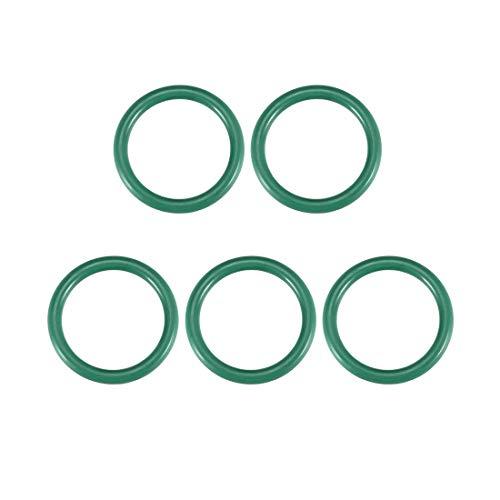 Juntas tóricas de goma fluorada YeVhear, 26 mm OD 19 mm ID 3,5 mm de ancho, junta de sellado FKM para fontanería de máquinas, verde, paquete de 5