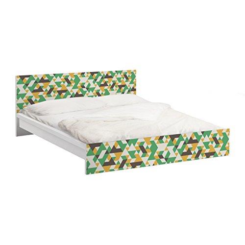 Apalis Vinilo Adhesivo para Muebles IKEA - Malm Bed Low 140x200cm No.RY34 Green Triangles, Größe:77cm x 157cm