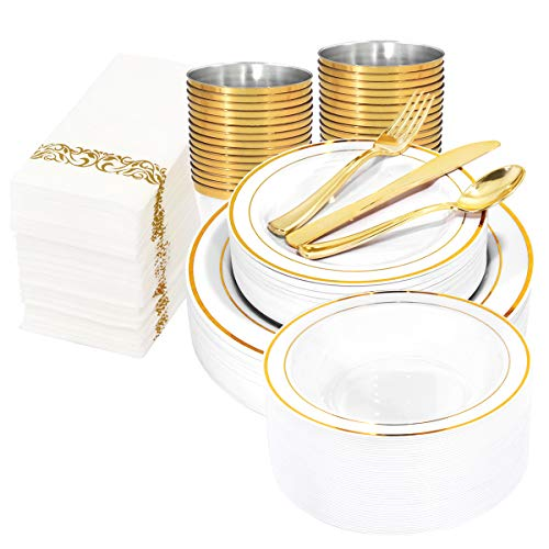 WDF 400pieces Gold Plastic Plates with Disposable Plastic Cutlery & Gold Plastic Cups&Gold Plastic Bowls&Hand Napkins-Gold Plastic Dinnerware For Wedding&Parties