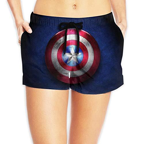 Captain America Shorts, bedruckte Strandshorts mit Kordelzug Gr. S, weiß