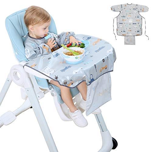 Dsaren Bavaglino Impermeabile Manica Lunga Bavaglino a Camicia Bavaglino Seggiolone per Bambina Bambini Bambino Neonato 6-36 Mesi (Grigio)