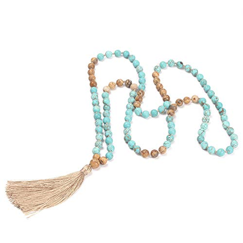 Charm Hand Knotted Tassel 108 Mala Beads Necklace