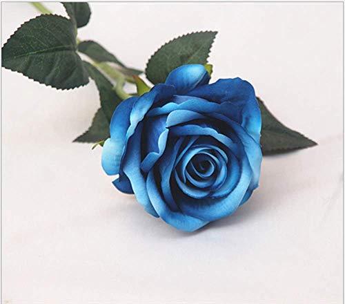 Uteruik - Ramo de Rosas Artificiales de Seda para decoración del hogar, 5 Unidades, Color Azul