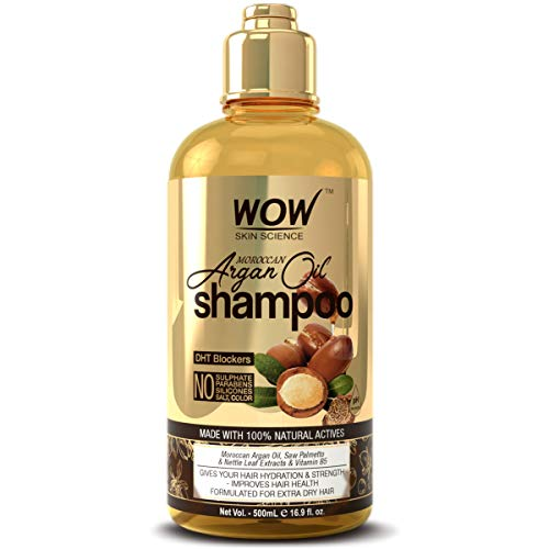 Price comparison product image WOW Moroccan Argan Oil Shampoo With DHT Blockers - Boost Fast Hair Growth,  Reduce Frizz,  Hair Loss - Clean Scalp,  Stronger Hair - For Soft & Smooth Hair - Silicone,  Paraben,  Sulfate Free - 500 mL