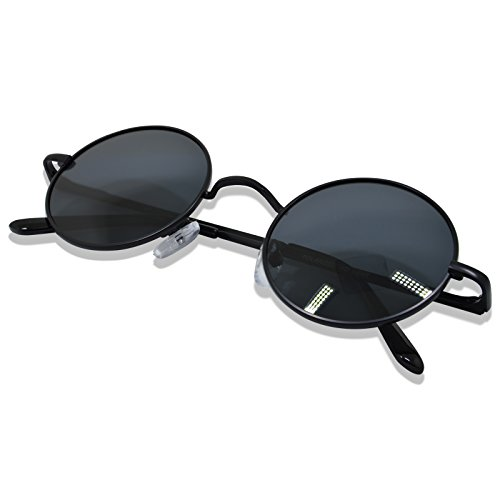 WHCREAT Uralt Retro Unisex Rund Polarisierte Sonnenbrille Federscharnier Metall Rahmen UV 400 Schutz für Männer Frauen - Schwarz Rahmen Schwarz Linse