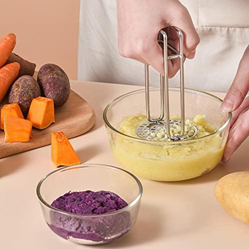 Pasapurés de patatas de acero inoxidable, prensapuré resistente, para bebé, con mango antideslizante para puré patatas lisas, mermeladas, verduras y frutas (negro)