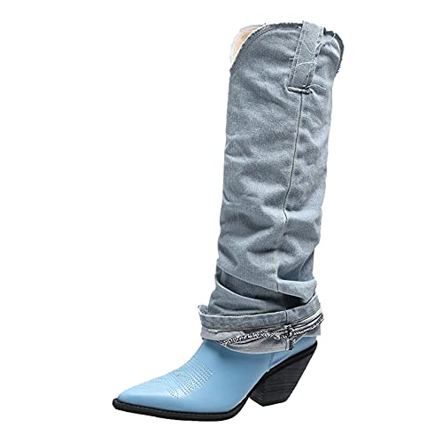 Thin Denim High Top Rider Boots for Women Vintage Floral Pointed Toe Chunky Heel Footwear Fashion Western Shoes