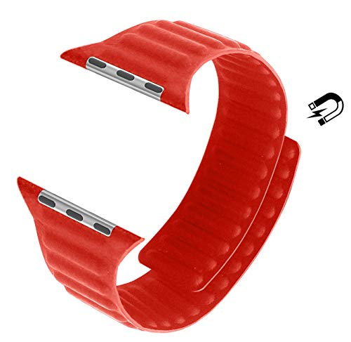 MaKer Bracelet en Cuir avec Fermeture Magnétique Compatible avec Apple Watch Série 6/SE/5/4/3 (40mm/38mm,Orange)