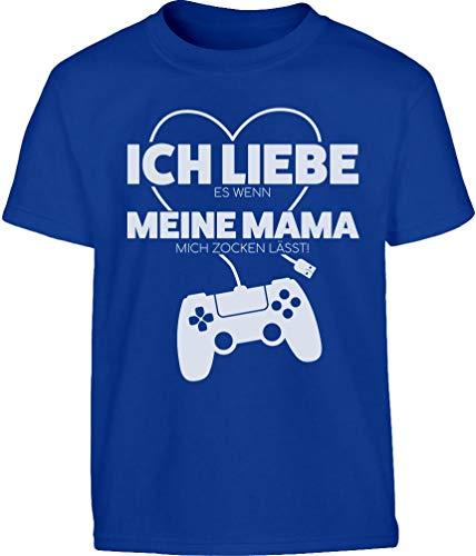 Gamer Liebe Es Wenn Meine Mama Mich Zocken Lässt Kinder und Teenager T-Shirt 164 Blau