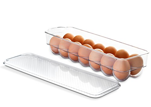 Saganizer egg holder for refrigerator or camping Clear acrylic egg storage