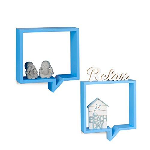Relaxdays Estantes Flotantes en Forma de Bocadillo de Cómic, Madera MDF, Azul, 40 x 36 x 10 cm