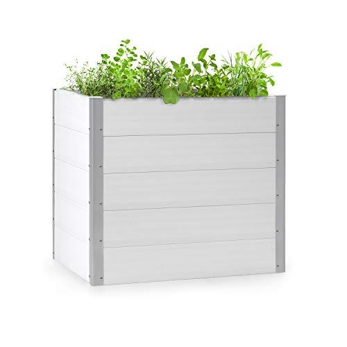 blumfeldt Nova Grow Gartenbeet,100 x 91 x 100 cm (BxHxT),Material: WPC mit UV-, Rost- und Frostschutz,Holzoptik,rückenschonende Höhe,einfacher Zusammenbau,weiß