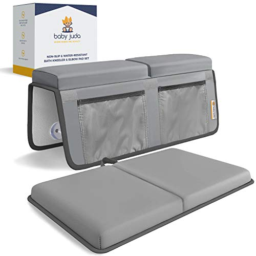 Bath Kneeler with Elbow Rest Pad Set - Large Thick Premium Baby Bathing Kneeling Pad with Arm Rest Support - Non Slip Foam Cushion Knee Saver Mat - Tub Toy Organizer - Water Resistant Shower Gift Gray