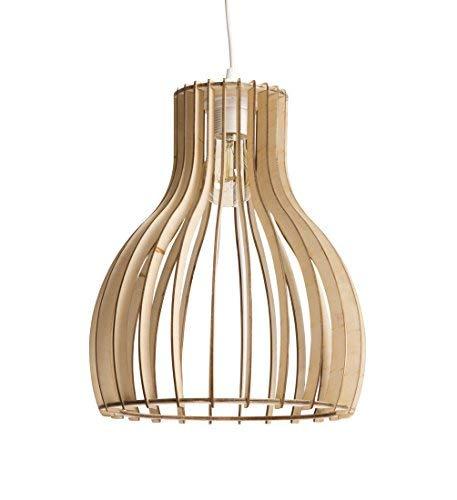Luminaire Helsinki S, suspension bois, 60 W, naturel,  ø 28 x H 34 cm