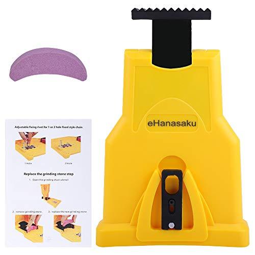 eHanasaku Chainsaw Sharpener, Chain Saw Blade Teeth Sharpener Work Sharp Fast Sharping Stone Grinder Tools for 14/16/18/20 Inch Two Holes Chain Saw Bar (Yellow)