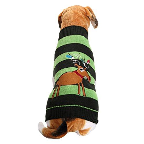 LvRao Puppy Dog Cat Knitting Sweater Doggie Turtleneck Jumper Christmas Reindeer Pet Costume Clothes Coat (Green, XL)
