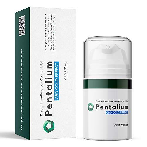 Pentalium CBD Cold Effect - Cannabidiol Crema Dolores Musculares y Articulaciones - pomada antiinflamatoria con aceite de semilla de cannabis, árnica, mentol y Eucaliptol. CBD 750 mg (50ml)