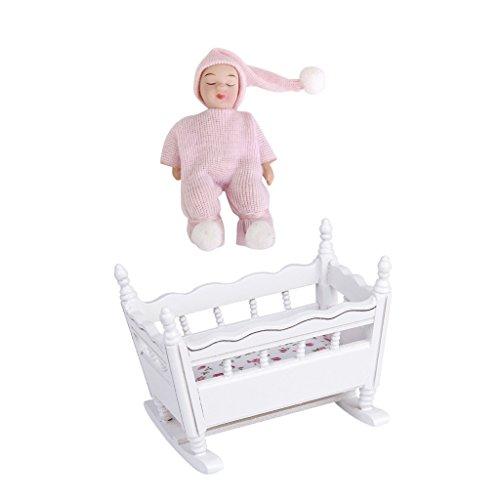 perfeclan 1/12 Casa de Muñecas Cuna de Guardería de Madera Blanca en Miniatura + Bebé Durmiente