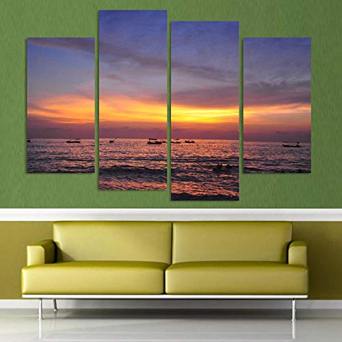 LOVELYJ Impresiones sobre Lienzo Pinturas Fallout Painting 4 Piezas Sunset Seaview Home Decor Living Room Print Large Oil Wall Art Picture Decoration-Rahmen